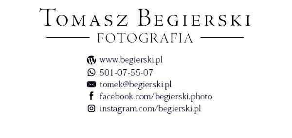 Logo i dane kontaktowe sponsora i wykonawcy zdjęć do galerii Ośrodka Egzaminacyjnego Tomasz Begierski.