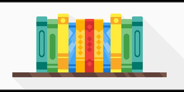 Grafika - półka z książkami.